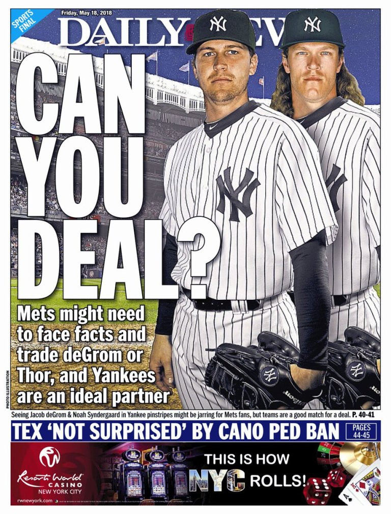 deGrom Syndergaard NY Daily News Cover.
